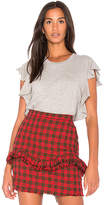 NSF Makayla Ruffle Tee in Gray. - size L (also in M,S,XS)