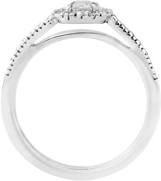 Love Diamond 9ctWhite Gold 60 Point Diamond Emerald Cut Centre Halo Ring