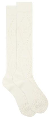 Gucci GG-rhombi Knee-high Cotton-blend Socks - Ivory
