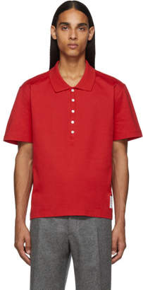 Thom Browne Red Relaxed Fit Polo