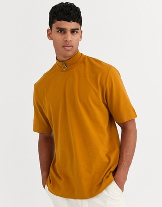 ASOS loose fit t-shirt with high neck zip