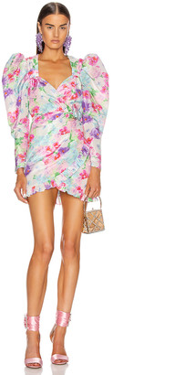 Alessandra Rich Floral Print Mini Dress in Pink | FWRD