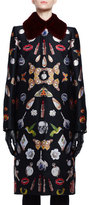 Alexander McQueen Obsession Jacquard Mink-Collar Coat, Black Mix