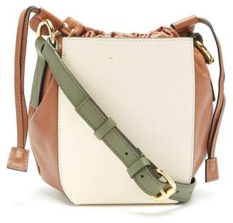 Marni Leather Drawstring Bucket Bag - Womens - White Multi