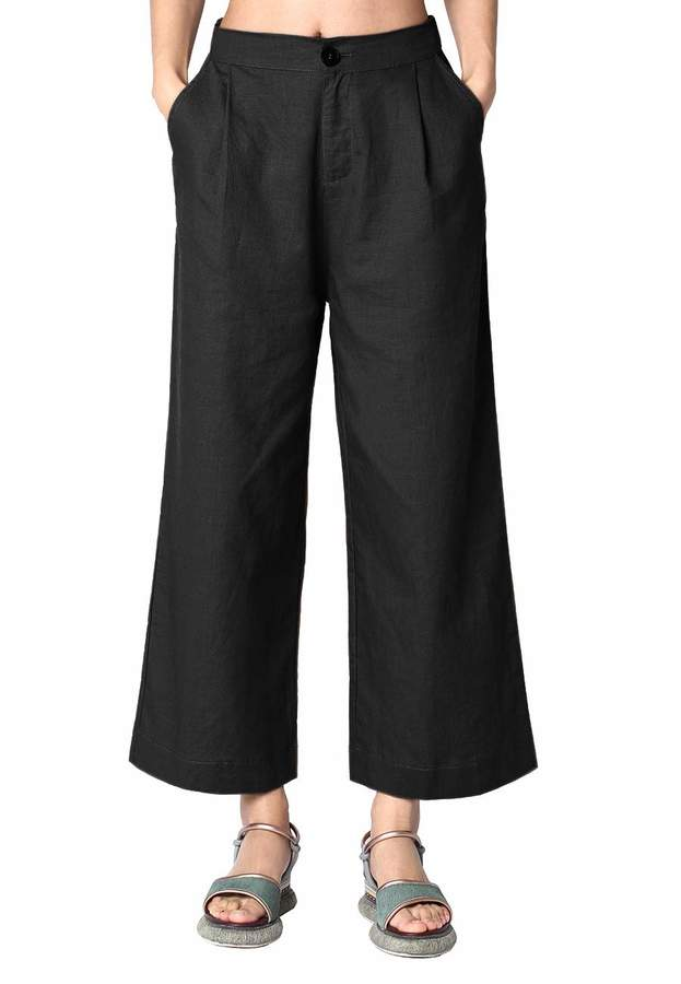f53261bc8a Ecupper Womens Linen Cotton Pants Cropped Wide Leg Casual Solid Loose  Trousers L