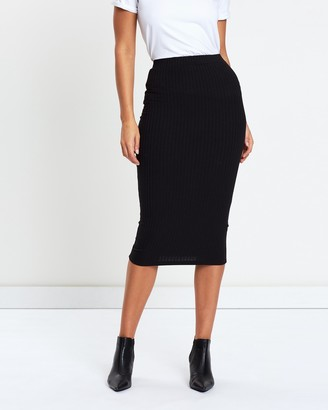 Atmos & Here Atmos&Here - Women's Black Pencil skirts - Lara Ribbed Midi Skirt - Size 8 at The Iconic