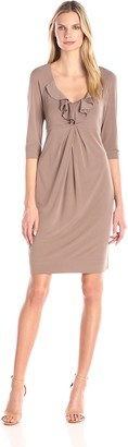 Donna Ricco Women's Jersey Dress with Ruffled Neck