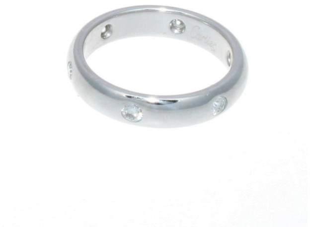 Cartier 18k White Gold Stella 6 Diamond Band Ring Size Eu 50 Us 5.25