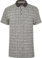River Island MensGrey chunky rib polo shirt