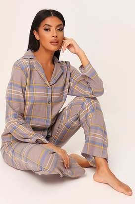I SAW IT FIRST Grey Brushed Check Button Through Pyjama Set