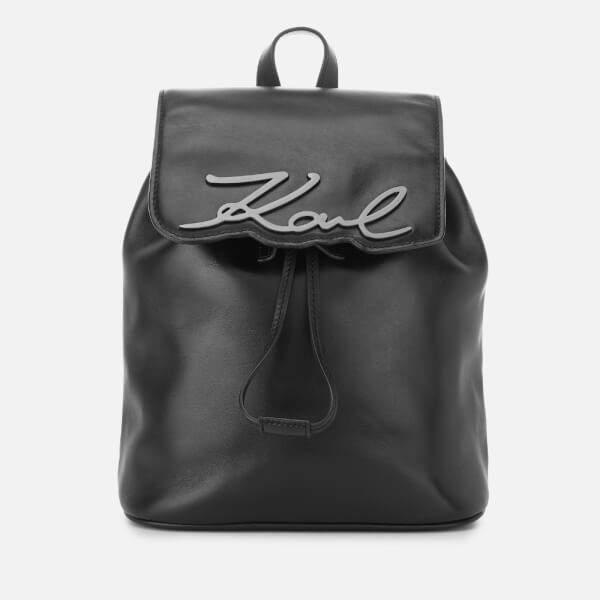 Karl Lagerfeld Paris Women's Signature Backpack - Black Gunmetal