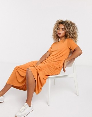 Weekday Samira slinky t-shirt dress in rusty orange