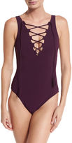 Karla Colletto Entwined Lace-Up One-Piece Swimsuit