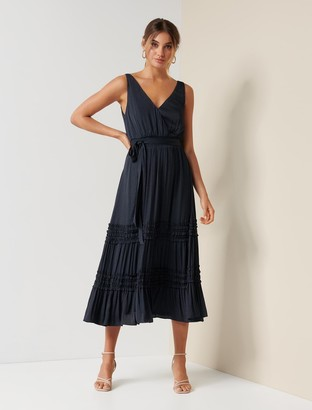 Forever New Madeline Tiered Ruffle Dress - Navy - 4