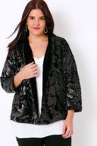 Yours Clothing Black Velvet & Sequin Embellished Fully Lined Jacket