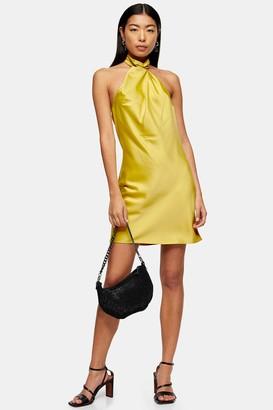 Topshop Mustard Satin Halter Neck Dress
