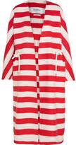 Max Mara Striped Wool And Angora-blend Coat - Red
