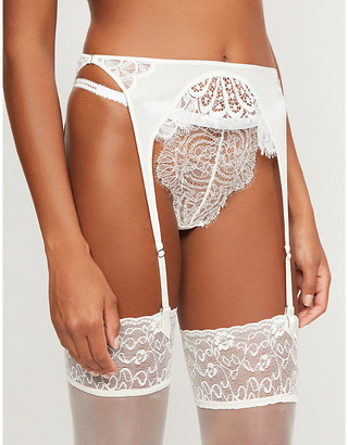 Kiki de Montparnasse Bridal silk-trim lace suspender belt