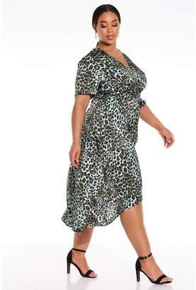 Quiz Curve Satin Leopard Print Dip Hem Dress - Multi