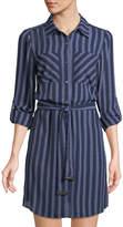 MICHAEL Michael Kors Belted Striped Shirtdress