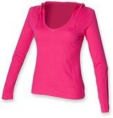 Skinni Fit Womens/Ladies Hooded V Neck Lighter-Weight T-Shirt (Longer Length) (L)