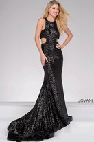 Jovani Cut Out Sequined Prom Dress 48334