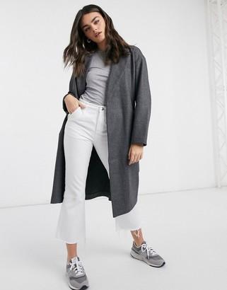 Vero Moda tailored coat with belted waist in dark grey