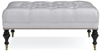 Williams-Sonoma Fairfax Leather Large Ottoman, Turned Leg with Tufted Top