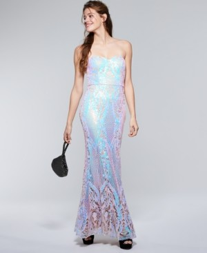 Say Yes to the Prom Juniors' Iridescent Sequin Mermaid Gown, Created for Macy's