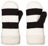 Isotoner Mittens White Black Stripe