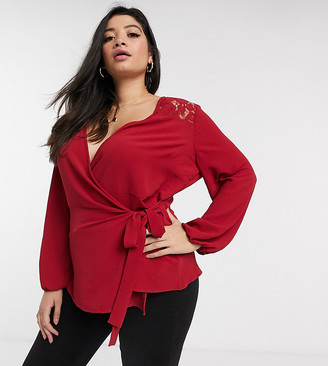 Simply Be wrap blouse with lace detail in red
