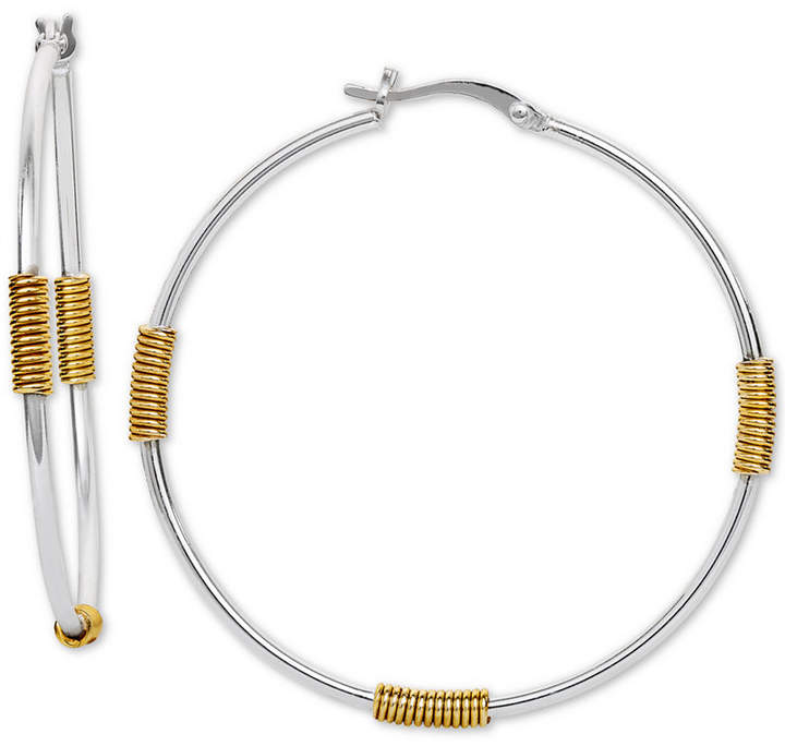 c0cbbc5ceaac8 Wire-Wrapped Hoop Earrings in Sterling Silver & 18k Gold-Plate