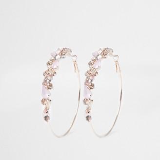 River Island Womens Rose Gold opal jewelled hoop earring