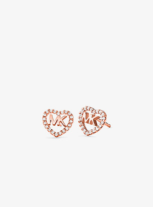 Michael Kors Precious Metal-Plated Sterling Silver Pave Heart Logo Studs - Rose Gold