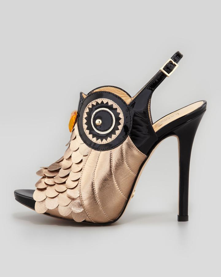 Kate Spade Night Owl Slingback Pump, Black/Rose Gold
