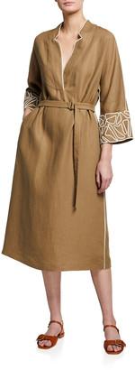 Loro Piana Embroidered Antigua Linen Belted Midi Dress