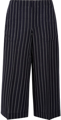 Acne Studios Cropped Pinstriped Wool-twill Wide-leg Pants