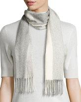 Neiman Marcus Cashmere Colorblock Scarf, Gray/Brume Gray