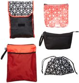 J L Childress Diaper Bag Organizer 5 Piece Set - Grey/Chevron