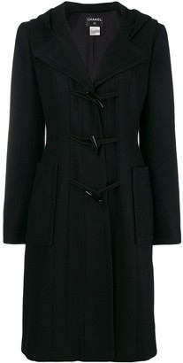 Chanel Pre-Owned hooded toggle fastening coat