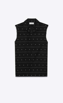 Saint Laurent Classic Shirts Worn-look Sleeveless Shirt With Indian Flowers Print Black 14