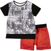River Island Mini boys black print t-shirt and shorts set