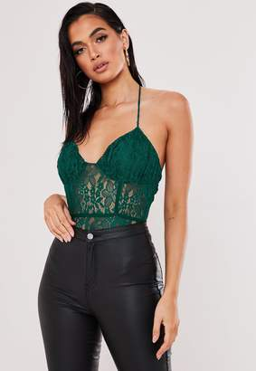 Missguided Petite Green Lace Halterneck Bodysuit