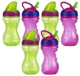 Nuby 10 Ounce Flip-And-Tip Hard Straw Cup - 6 Pack (Green/Purple)