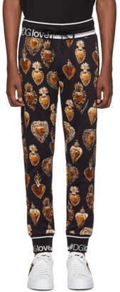 Dolce & Gabbana Black and Gold Heart Crest Lounge Pants