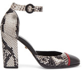 Just Cavalli Snake-Effect Leather Pumps