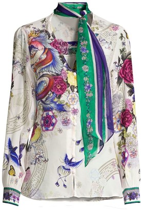 Camilla Mythical Creatures Neck-Tie Blouse