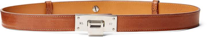 Ralph Lauren Flip-Lock Smooth Leather Belt