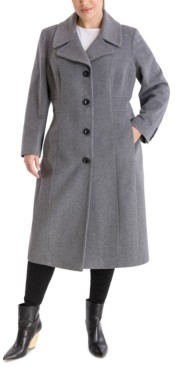 Anne Klein Plus Size Single-Breasted Maxi Coat