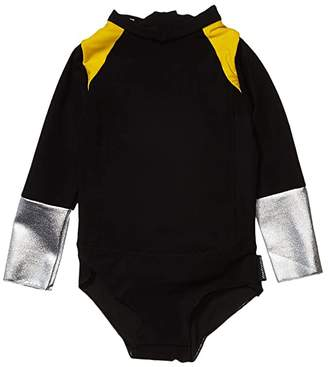 Nununu Tricolor Long Sleeved Swimsuit (Infant/Toddler/Little Kids) (Black) Girl's Swimsuits One Piece